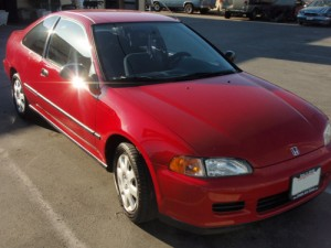 red civic repaired dent